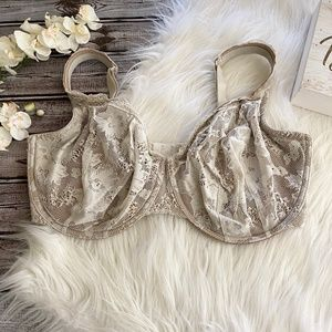 Cacique Lace Bra 38G Cream/Tan Full Coverage